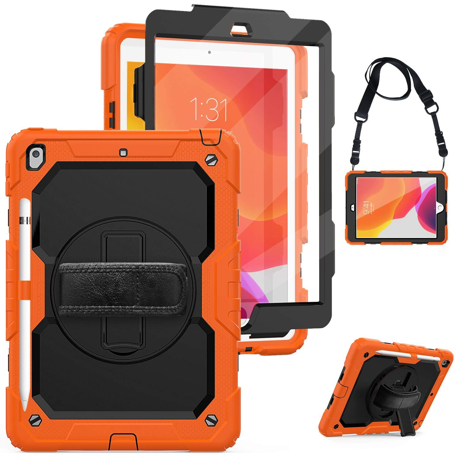 """New iPad 7th Generation 10.2""""Case 2019 with Screen Protector,Herize iPad 10.2 Case with Pencil Holder,Rotatable Stand,Hand Strap&Shoulder Belt,Shockproof Case for Kids,New iPad 10.2 inch Tablet,Orange"""