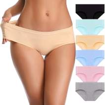 OPIBOO Womens Cotton Underwear Panties Soft Comfort Briefs Breathable Hipster for Women Lady Bikini 6 Pack