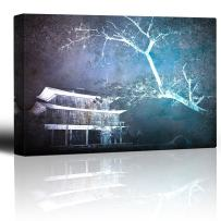 wall26 - Haunted House and Tree on a Blue and Purple Watercolor Background - Canvas Art Home Decor - 32x48 inches