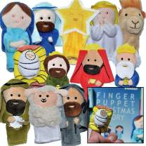"""The Nativity"" - Finger Puppet Set [12-Pack] - Includes Storybook [Birth of Jesus] - Great for Illustrating Bible Stories - Sunday School / Christmas Eve or Morning [Christian / Catholic Childr Gifts]"