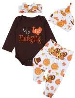 My First Thanksgiving Baby Boy Girls Clothes Long Sleeve Turkey Romper Turkey Pumpkin Pants + Headband & Hat Outfits Set