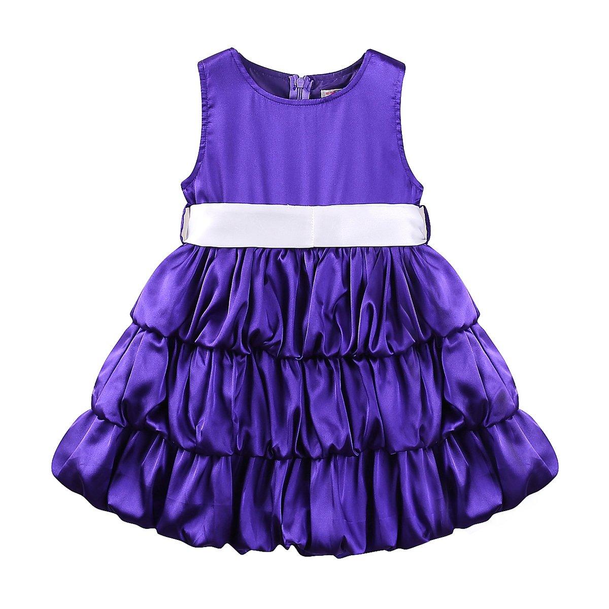 Mud Kingdom Little Girls Party Dresses Elegant Princess Purple