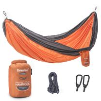 """BROWINT Double Camping Hammock, 12 Colors, Lightweight & Unique 220T Parachute Nylon Portable Hammock for 2 Persons, Best Outdoor Hammock for Backpacking, Beach, Travel, Yard. 10'L x 6'8"""" W"""