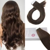 Moresoo 18 Inch Tape in Extensions Remy Hair Brown Color #4 Seamless Skin Weft Tape in Hair Extensions Straight Hair Extensions Thick to End 20pcs/50g