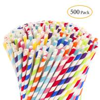 Hiware 500-Pack Biodegradable Bulk Paper Straws - 10 Different Colors Rainbow Stripe Paper Drinking Straws - Paper Straws for Juices, Shakes, Smoothies, Party Supplies Decorations
