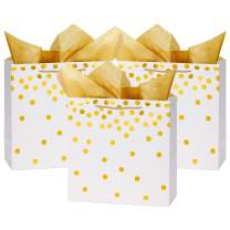 "Loveinside Dots Foil Gift Bags -Gold Foil White Paper Gift Bag with Tissue Paper for Wedding,Birthday Present-12Pack -12"" X 5"" X 12"""