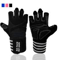 Weight Lifting Gloves Work Out Gym Men Women Crossfit with Wrist Wraps Support, Anti-Slip Grip Half Finger Glove for Exercise Weightlifting Hanging Rowing Biking Training
