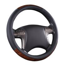 CAR PASS Classic Wood Grain Universal Leather Steering Wheel Cover fit for Trucks,suvs,Vans,sedans (Black)