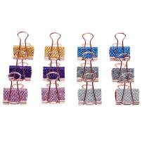 Plaid Glitter DIY Binder Clips Handmade Leather Paper Clips Cute Decorated Planner Clips