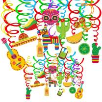 Supla 30 pcs Fiesta Hanging Swirl Decorations Mexican Fiesta Cinco De Mayo Party Swirls Hanging Swirl Streamers Foil Hanging Ceiling Décor with Assorted Cactus Chili Sugar Skull Pinata Maracas Sombrero Hat Taco Lemon Cutouts for Ceiling Spiral Decorations Party Backdrops