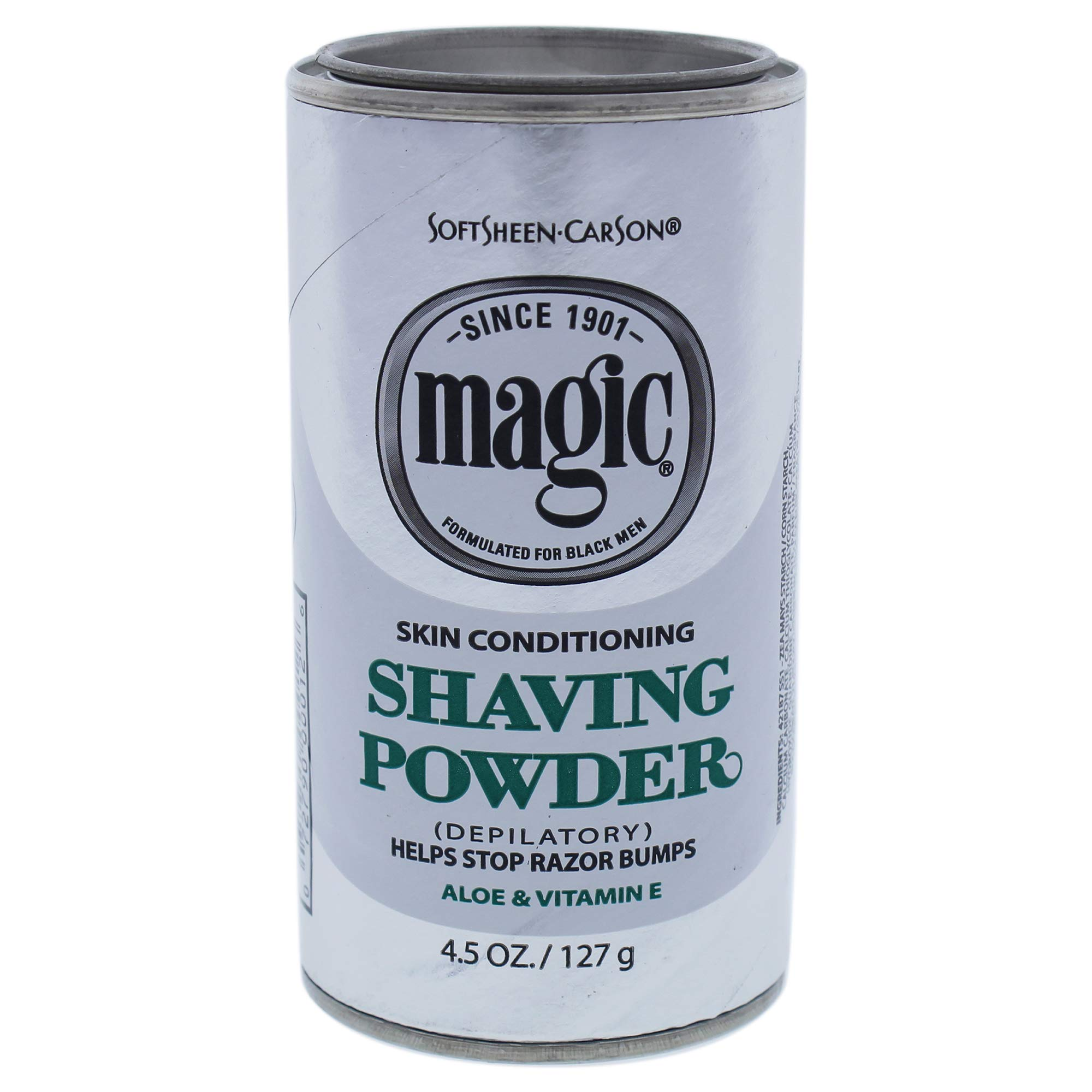 Razorless Shaving for Men by SoftSheen-Carson Magic Skin Conditioning Shaving Powder, with Vitamin E and Aloe, Formulated for Black Men, Depilatory, Helps Stop Razor Bumps, 4.5 Ounce