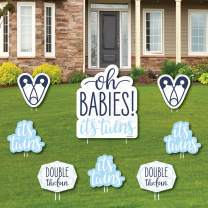 It's Twin Boys - Yard Sign and Outdoor Lawn Decorations - Blue Twins Baby Shower Yard Signs - Set of 8