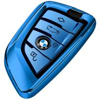 Uxinuo for BMW Key Fob Cover, Full Protection Soft TPU Key Fob Case Compatible with BMW Keyless Remote Control Smart Key New 7 Series X1 X5 X6 M5 M6 and 5 Series 2018 (Blue)