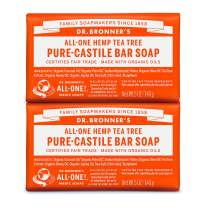 Dr. Bronner's - Pure-Castile Bar Soap (Tea Tree, 5 ounce, 2-Pack) - Made with Organic Oils, For Face, Body, Hair and Dandruff, Gentle on Acne-Prone Skin, Biodegradable, Vegan, Non-GMO