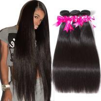 Subella Brazilian Straight Hair 3 Bundles Grade 9A Virgin Unprocessed Brazilian Straight Human Hair Weave Bundles Natural Black Color (10 12 14inch)