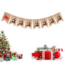 Reindeer Burlap Banner Christmas Banner Holiday Wall Banner Rustic Winter Festive Home Decor