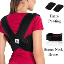 Posture Corrector for Women & Men - Thoracic & Shoulder Brace for Upper & Lower Back Pain - Bonus Extra Padding & Neck Brace (FDA Approved) by MedArmor (Regular 29''-40'' Chest Size)