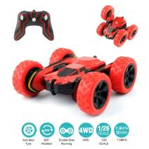 Remote Control Car, 4WD RC Stunts Cars with 2.4Ghz Anti-Interference Control, 360°Rotation, Somersault & Dual-Side Running Off-Road Vehicle, Ideal Gift for Boys Girls