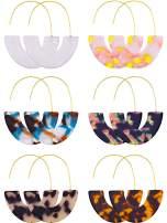 6 Pairs Resin Drop Hoop Dangle Earrings Acrylic Tortoise Shell Statement Earrings in Bohemian Style for Women Girls