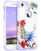 ULAK iPhone 7 & 8 Case, Slim Fit [ Dual Layer Series ] Soft Silicone & Hard Back Cover Bumper Protective Shock-Absorption & Skid-Proof Anti-Scratch Cover, (Purple+Tropical Flower)