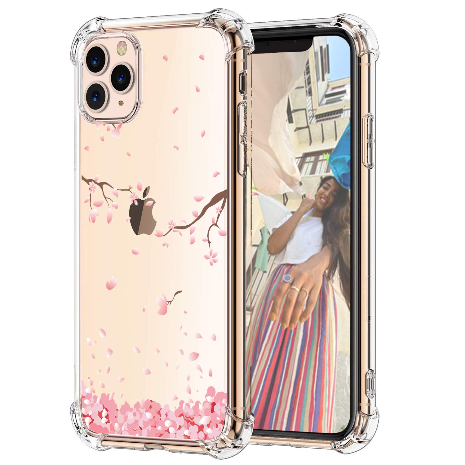 """Hepix Peach Petals Floral iPhone 11 Pro Case Pink Flowers 11 Pro Clear Cases, Crystal Soft Flexible TPU Phone Cover with Protective Bumpers Anti-Scratch Shock Absorbing for iPhone 11 Pro (5.8"""") 2019"""