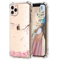 "Hepix Peach Petals Floral iPhone 11 Pro Case Pink Flowers 11 Pro Clear Cases, Crystal Soft Flexible TPU Phone Cover with Protective Bumpers Anti-Scratch Shock Absorbing for iPhone 11 Pro (5.8"") 2019"