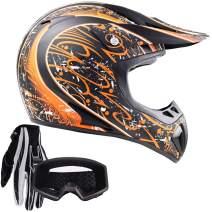 Typhoon Adult ATV MX Helmet Goggles Gloves Gear Combo Matte Orange w/Black (XL)