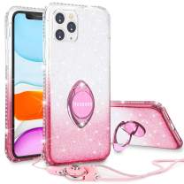 Henpone Glitter Case for iPhone 11 Pro Max Case Girls Women Case with Ring Kickstand Bling Sparkle Diamond Rhinestone Stand Holder Pretty Case for iPhone 11 Pro Max 6.5 inches -Pink Gradient