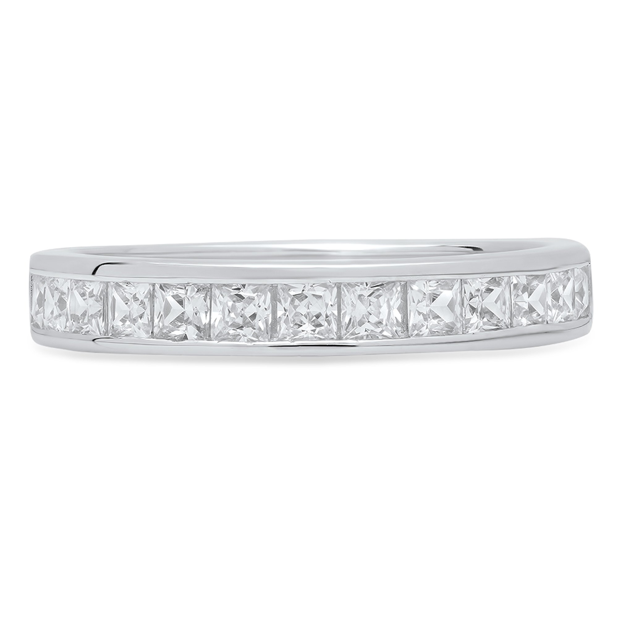 2.20 ct Brilliant Princess Cut Stacking Channel Setting Statement Classic Designer Solitaire Anniversary Engagement Wedding Bridal Promise Bands in Solid 14K White Gold