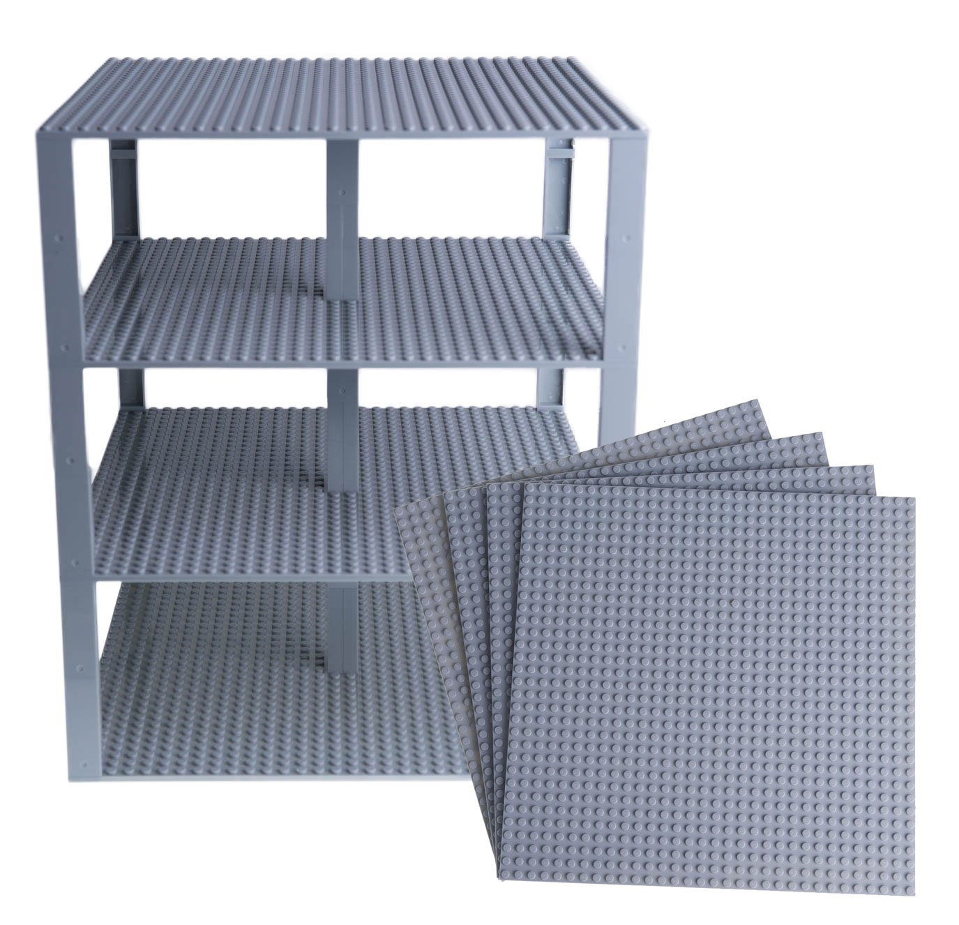 """Strictly Briks Classic Baseplates 10"""" x 10"""" Brik Tower 100% Compatible with All Major Brands   Building Bricks for Towers and More   4 Light Gray Stackable Base Plates & 30 Stackers"""