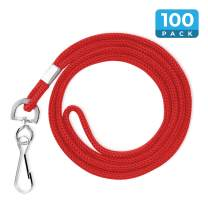 """Mata1 Lanyards (100 Pack, Red), Economy ID Lanyards Bulk, Business Card Lanyards, ID Card Holder Lanyards for Employees and Students, Round 36"""" with Swivel Hook"""