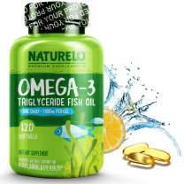 NATURELO Omega-3 Fish Oil Supplement - EPA DHA - 1100 mg Triglyceride Omega-3 per Gel - One A Day - Best for Heart, Eye, Brain, Joint Health - No Burps - Lemon Flavor - 120 Softgels   4 Month Supply
