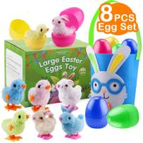 Satkago Kids Easter Basket Stuffers, 8 Pack Easter Eggs with Wind-up Rabbits Chics Bunny for Toddlers Easter Basket Gifts for Kids
