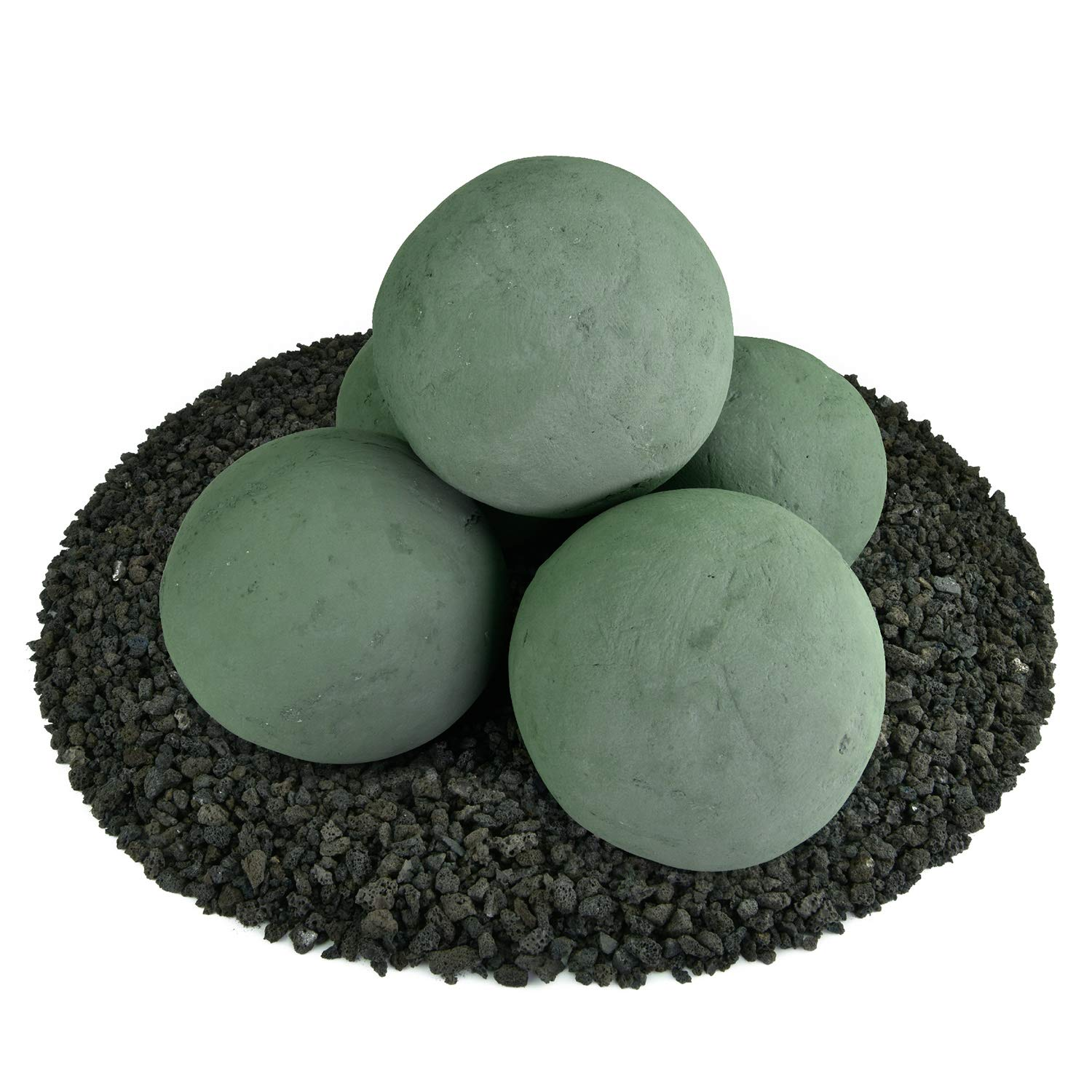 Ceramic Fire Balls   Set of 5   Modern Accessory for Indoor and Outdoor Fire Pits or Fireplaces – Brushed Concrete Look   Slate Green, 6 Inch