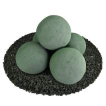 Ceramic Fire Balls | Set of 5 | Modern Accessory for Indoor and Outdoor Fire Pits or Fireplaces – Brushed Concrete Look | Slate Green, 6 Inch