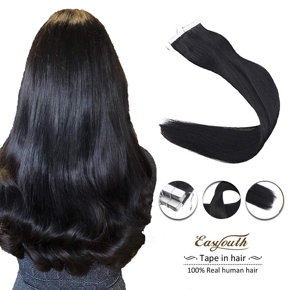 Easyouth 16inch Tape in Hair Extensions 80Gram Color 1 Jet Black Human Hair 40 Pieces Invisiable Skin Weft Tape on Hair Extensions
