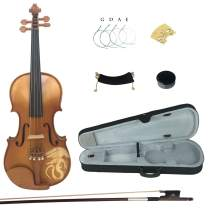 Kinglos 1/2 Dragon Carved Ebony Fitted Solid Wood Violin Kit with Case, Shoulder Rest, Bow, Rosin, Extra Bridge and Strings (LONG006)