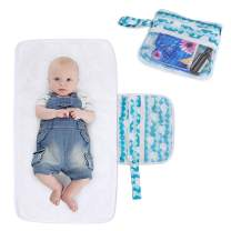 Luxja Portable Diaper Changing Pad (Non-Bulky), Baby Changing Pad with Pockets, Diaper Changing Clutch for Home or Travel Use, Foldable and Machine Washable, Whales
