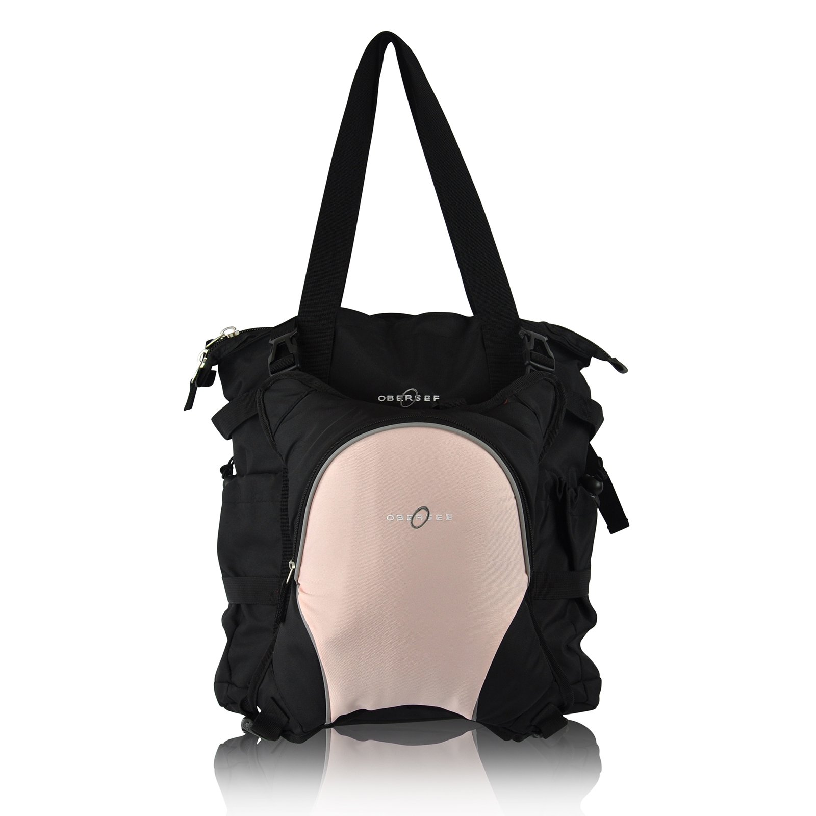 Obersee Innsbruck Diaper Bag Tote with Cooler, Black/Bubble Gum
