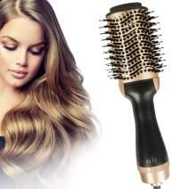 Hot Air Brush,Hair Dryer Brush, Hair Dryer and Volumizer Salon Negative One Ionic Step Hair Straightener Brush,Ceramic Electric Blow Dryer, Curler, Straightener, Styler Brush with 2Pcs Hair Clips