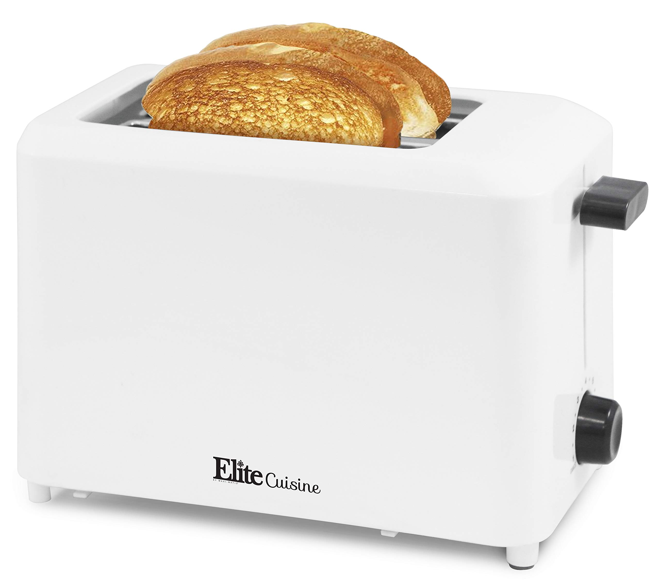 """Maxi-Matic ECT-1027 Cool Touch Toaster with 7 Temperature Settings & Extra Wide 1.25"""" Slots for Bagels, Waffles, Specialty Breads, Puff Pastry, Snacks, UL Certified, 2 Slices, White"""
