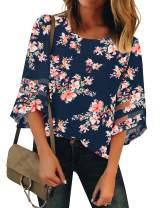 LookbookStore Women Casual Crew Neck Shirt Top 3/4 Bell Sleeve Mesh Panel Blouse