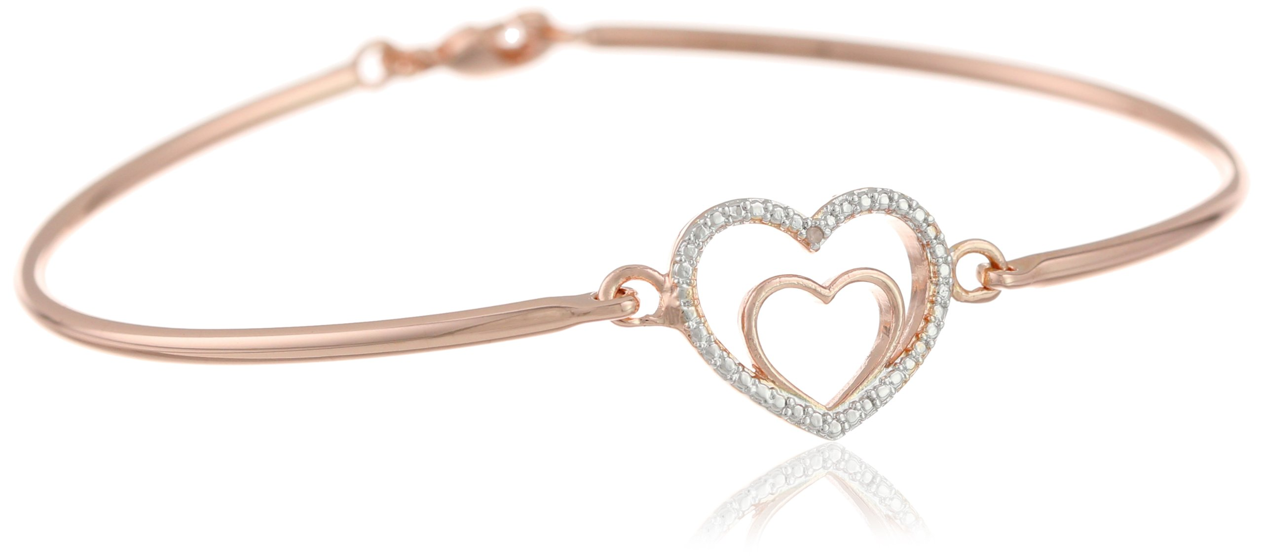 """White, Yellow and Rose Gold Plated Bangle Bracelet, 7.25"""""""