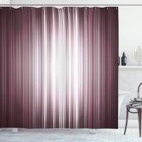 """Ambesonne Purple Shower Curtain, Futuristic Digital Style Stripes and Rays in Unusual Abstraction, Cloth Fabric Bathroom Decor Set with Hooks, 84"""" Long Extra, Mauve Silver"""