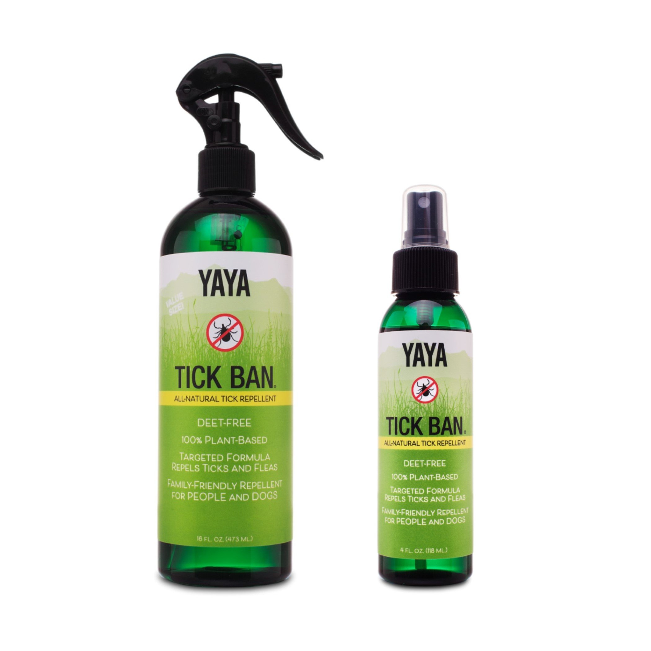 YAYA Organics Tick Ban   Extra Strength Tick Repellent Made with Essential Oils and All Natural, DEET Free Ingredients   Proven Effective, Safe for Adults, Kids and Dogs   Mixed Pack (4oz/16oz)