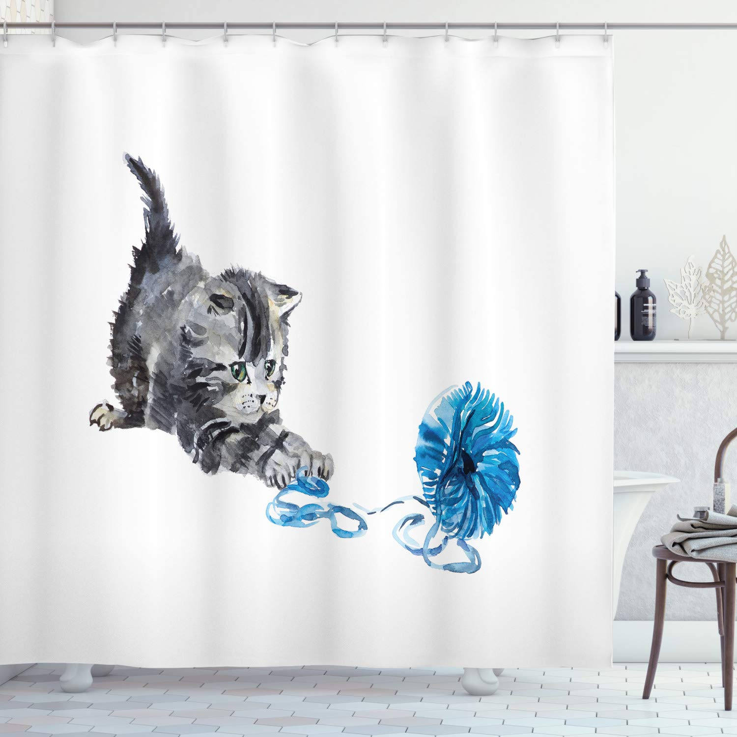 """Ambesonne Cat Shower Curtain, Playful Baby Kitten with Ball of Yarn Furry Animal Domestic Feline Kids Pets Artwork, Cloth Fabric Bathroom Decor Set with Hooks, 84"""" Long Extra, Grey Blue"""