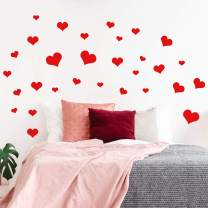 "Set of 30 Valentines Day Vinyl Wall Art Decal - Hearts - from 2"" to 8"" Each - Valentine's Home Living Room Bedroom Sticker - Indoor Outdoor Work Office Household Apartment Decor"