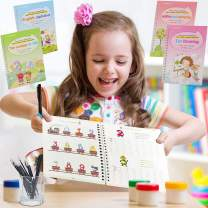 Magic Practice Copybook, 4 English Calligraphy Reusable Workbook Handwriting Practice Tracing Magic Practice Copybook for Kids (Style1)