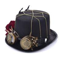 Charmian Unisex Steampunk Top Hat Goggles Gears Chain Deluxe Costume Accessory