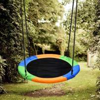 Chilly Tree Swing, 40 Inch Outdoor Saucer Swing Flying 600lb Weight Capacity with Hanging Strap Kit, Perfect for Backyard, Playground Swing, Playroom (Colorful)